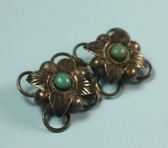 Vintage Taxco 980 Silver Turquoise Brooch Art Deco Floral Design
