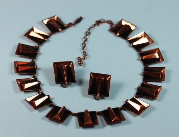 Vintage Copper Necklace Set Black Enamel Matisse Mid Century Modern