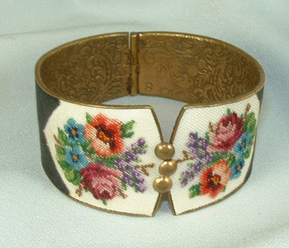 Victorian Cuff Bracelet with Red Blue and Violet Floral Petit Point Embroidery