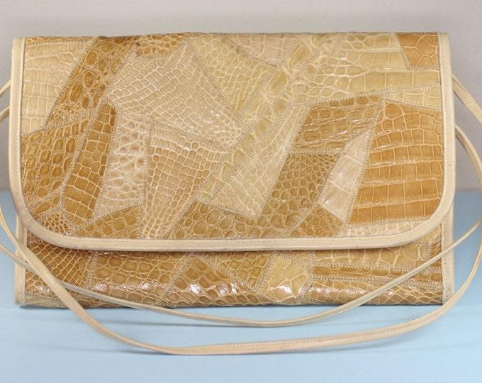 Snakeskin Purse Golden Brown Tans Patchwork Reptile Clutch Designer Varon Vintage