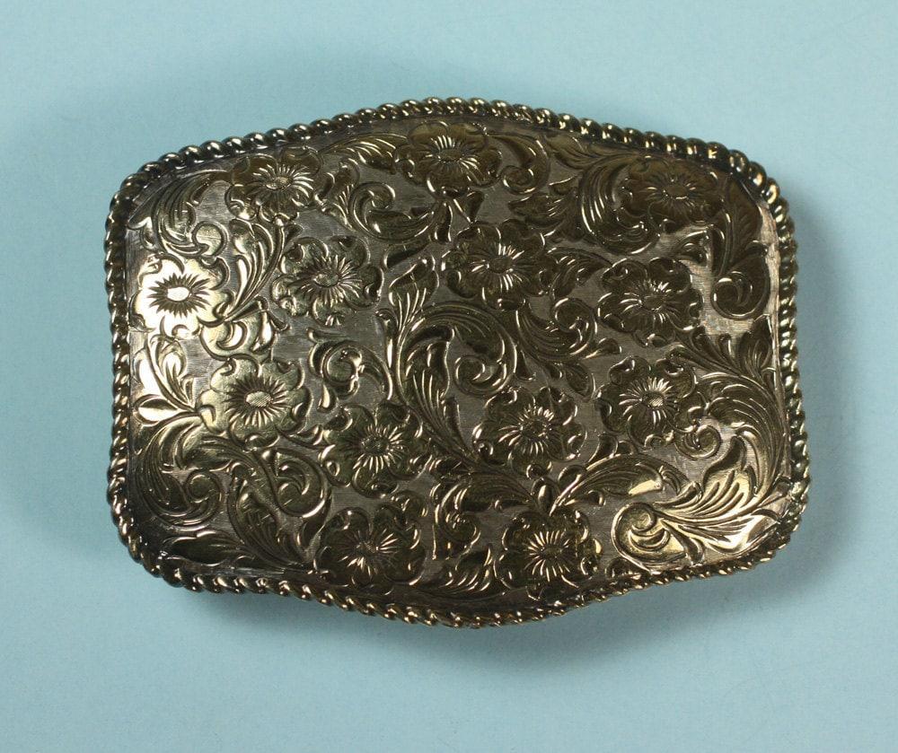 Vintage Belt Buckle Crumrine 22K Gold on Sterling Western