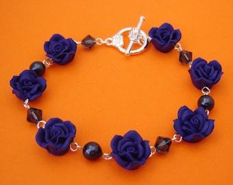 Navy Rose Toggle Bracelet