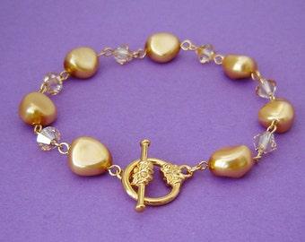Golden Bridesmaid Toggle Bracelet