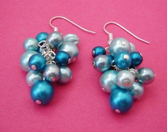 Turquoise Pearl Cluster Earrings