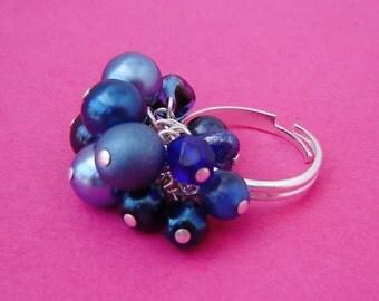 Navy Blue Beaded Ring