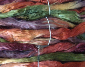 Tencel roving for spinning - Old Brass 1 oz.  (Gold, burnt orange, brown, olive)