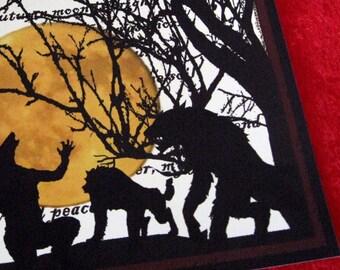 When the Wolfbane Blooms Original Digital Art Print 8x10 Werewolf Art