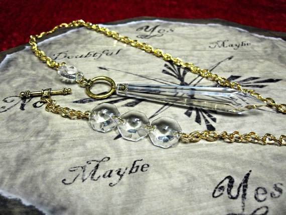 Asymmetrical Crystal Pendulum Necklace with FREE Divination Chart