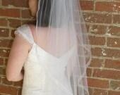 Wedding Veil - 36 inch Fingertip Length Cascading Wedding Veil with organza ribbon trim