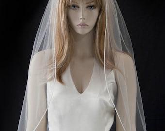 Wedding Veil - waist length bridal veil with satin cord edge