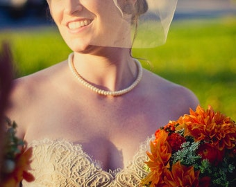 Tulle blusher veil - 12 inch bridal veil