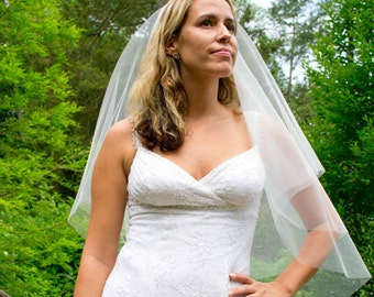 Wedding veil - fingertip length circular cut wedding veil with a cut edge - with blusher