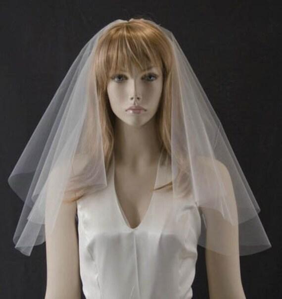 Wedding veil - 16X20 Shoulder Length bridal veil with simple cut edge