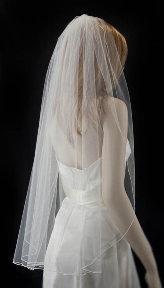 wedding veil fingertip length bridal veil, pencil edge veil