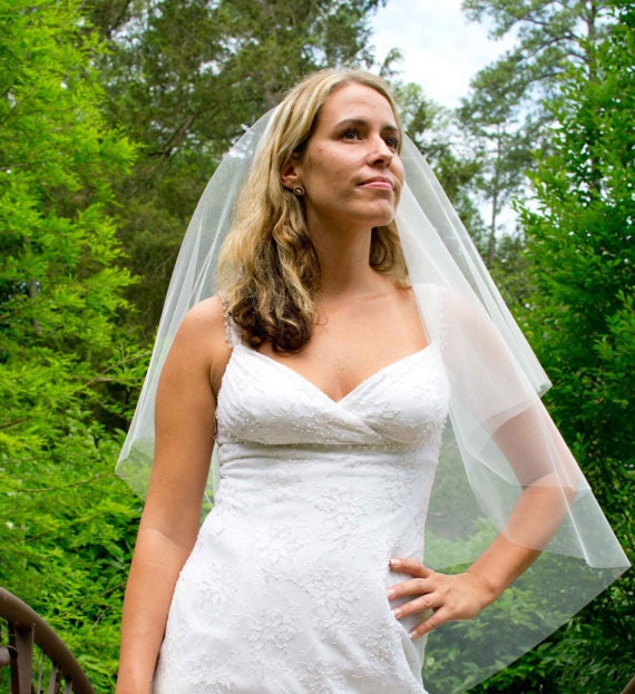 Wedding veil - 30x36 circular cut wedding veil with a cut edge - with blusher
