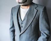 Three Pieces of Glory Vintage Herringbone Suit Jacket 40 Pants 31 X 29