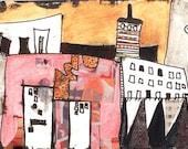 Santa Fe - Monoprint - Abstract Landscape