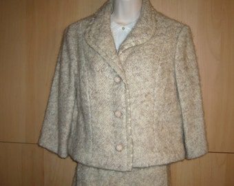 60's Jackie O, Mad Men, 2 pc Suit, Box Cut Jacket, Pencil Skirt from Buffums