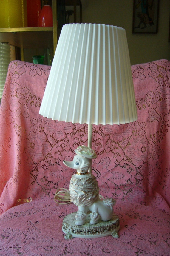 50 S Vintage Ceramic Poodle Lamp With Shade Chic By