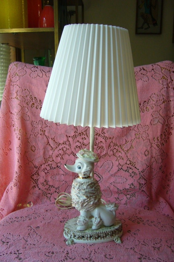 50 S Vintage Ceramic Poodle Lamp With Shade Chic White Dog