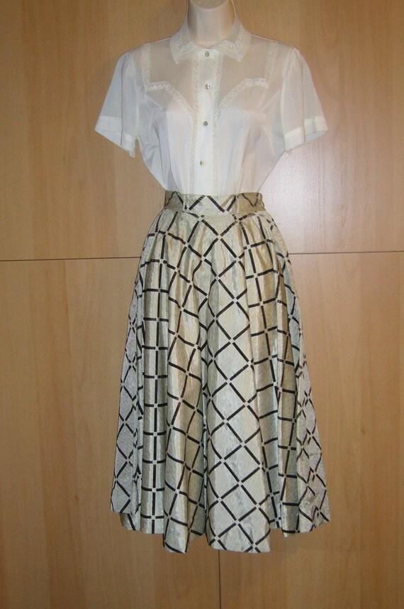 1950s Flocked Taffeta Circle Skirt, Party, Evening, Cocktail