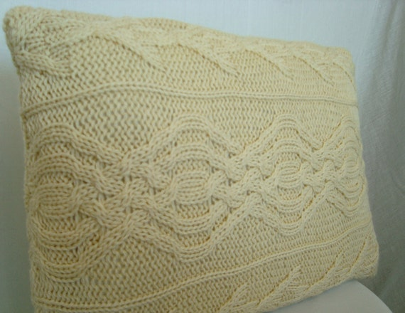 Gorgeous Pale Yellow Cable Knit Sweater Pillow