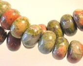 Unakite Gemstone Smooth Rondelles Approx 6x4 mm