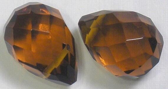 READ DISCRIPTION Glass Quartz Crystal Briolette AMBER approx 14x10mm 5 beads