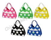 Large Personalized Polka Dot Beach Bag Tote in 5 Pretty Colors  ...FREE MONOGRAMMING