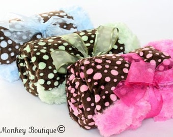 Minky Mini Dot Minky with Oh So Soft Minky Swirl Backing ... Choose from Three Minky Dot Colors...