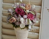 Dried Flower Arrangement /  Vintage French Book Page Cone / Shabby Cottage / Dried Roses / Wall Decor