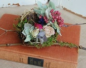 Birds Nest with Dried Flowers, Roses , Hydrangea,   Berries