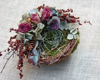 Fall Bird Nest with Dried Flowers / Rustic Nest / Natural Decor /Grapevine Moss Nest/ Cottage Decor