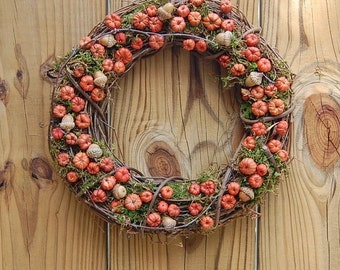 Fall Wreath /  Autumn Wreath / Dried Floral / Mini Pumpkins / Rustic Wedding Decor