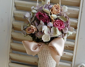 Dried Floral Arrangement  in Vintage French Book Page Cone