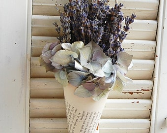 Two - French Book Cone / Vintage  Book Cone with Dried French Lavender and Hydrangea