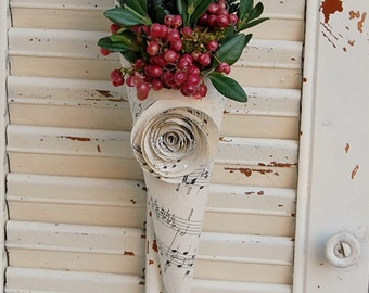 Three -  Christmas Dried Flower / Holiday Decor / Holiday Greens and Berries / Vintage Sheet Music Cones