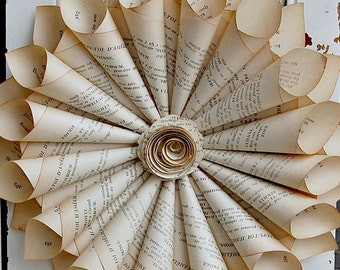 Book Page Wreath / French Book Wreath /  Paper Cone Wreath / 9-10""