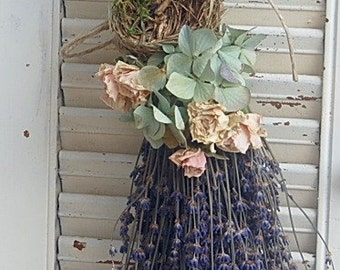 Dried Lavender  Bouquet with Hydrangea Dried Roses and Birds Nest