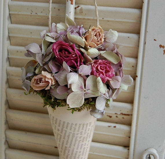 Dried Flower /   Vintage French Book Page Cone / Shabby Cottage