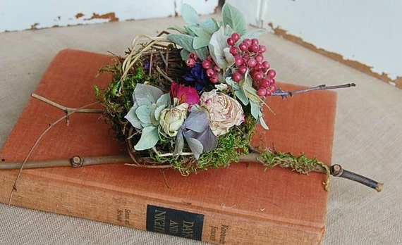 Birds Nest with Dried Flowers /  Grapevine and Moss Nest / Roses, Hydrangea , Berries / Natural Woodland Decor