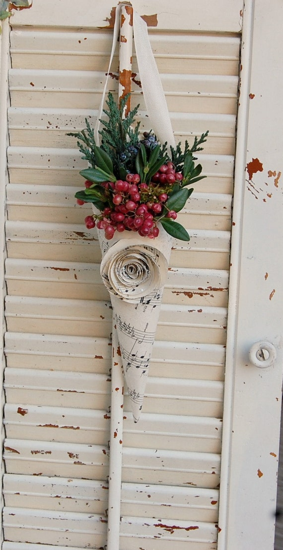 TWO -  Christmas Dried Flower Decor/ Holiday Greens and Berries / Vintage Sheet Music Cones