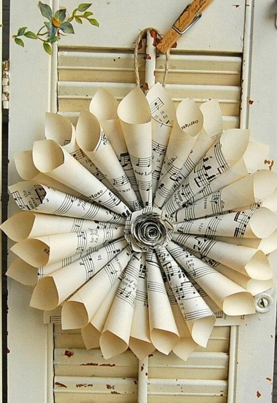 Sheet Music Wreath / Paper Wreath / Vintage Sheet Music / Paper Rose  / Vintage Wedding
