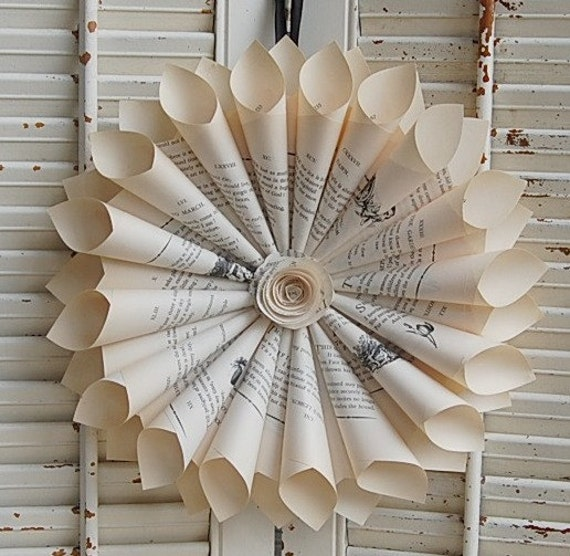 Book  Wreath Paper Wreath  Vintage Pages Emily Dickinson Poetry