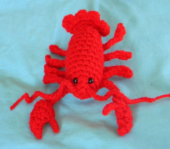 Amigurumi red lobster toy