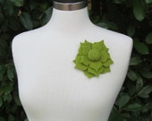Flower Pin Brooch Wool fashion accessory lime green apple celery