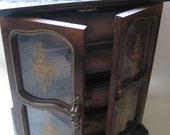 Vintage Wooden Armoire jewelry music box with drawers and glass doors