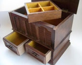 Wooden Jewelry box made in Japan Styled by MELE  NY(Mid.Century)