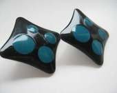 Pair of earrings from the 80s - Black and turquoise square post earrings.