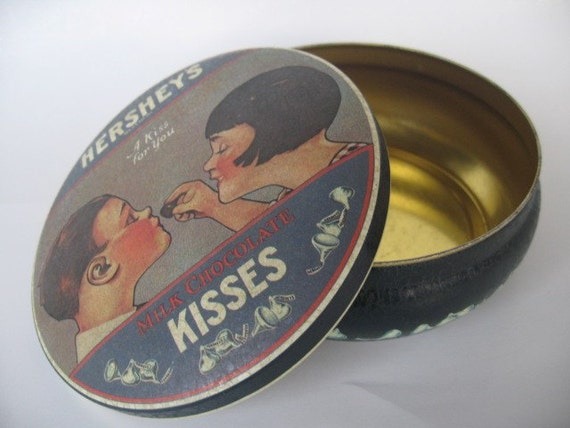 Vintage 1982 HERSHEYS KISSES A Kiss for you round tin can